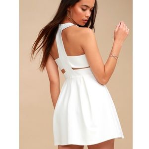 Lulus Cutout and About White Skater Dress